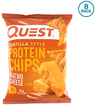A bag of Nacho Cheese Quest Tortilla Style Protein Chips