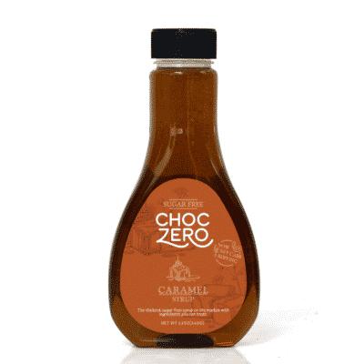 A bottle of ChocZero Sugar Free Caramel Syrup