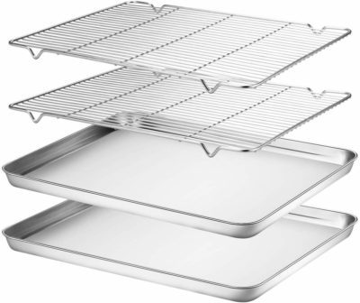 Two baking sheet pans with cooling racks