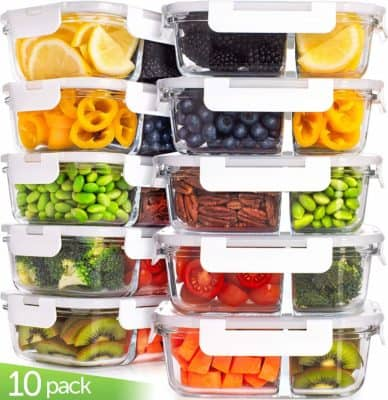 An assortment of plastic food storage containers - keto meal prep essentials