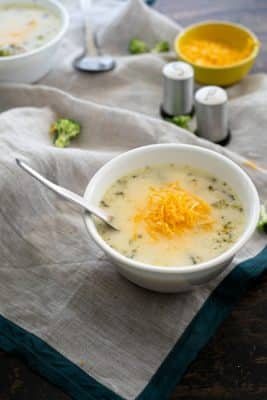 Instant Pot Keto Chicken Soup With Broccoli in a white bowl