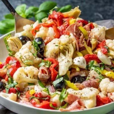 Keto Antipasto Salad in a bowl
