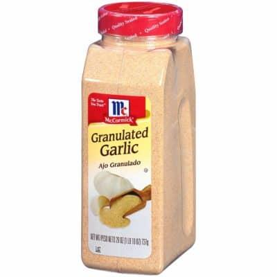 A jar of granulated garlic powder