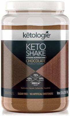 A jar of Keto Chocolate Shake mix