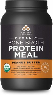 A jar of Organic Bone Broth Protein Meal - Peanut Butter flavor