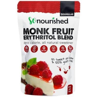 Monk Fruit Granular Erythritol Blend sweetener in a bag
