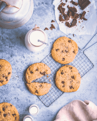 CHOCOLATE CHIP PROTEIN COOKIES with a glass of milk