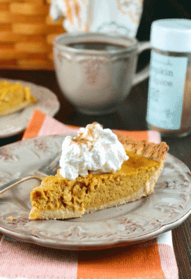 EASY KETO PUMPKIN PIE on a plate