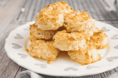 KETO COCONUT MACAROONS on a white plate