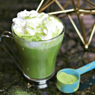 Keto Bulletproof Matcha Latte recipe with a scoop of matcha powder