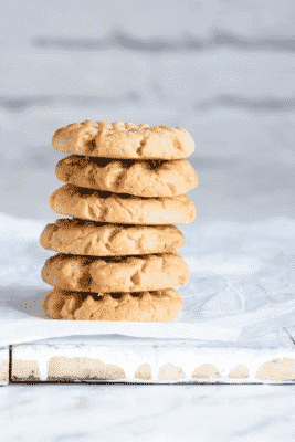 Keto Peanut Butter Cookies in a stack