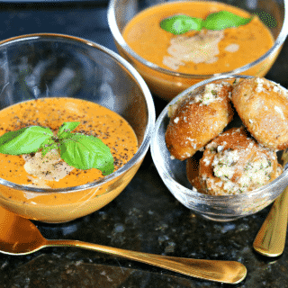 Two bowls of Keto Tomato Soup