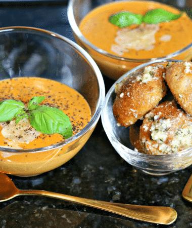 Two bowls of Keto Tomato Soup