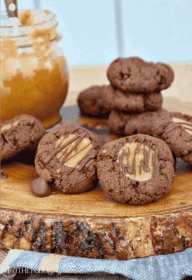 CHOCOLATE THUMBPRINT COOKIES WITH CARAMEL FILLING