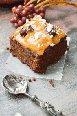 LOW-CARB VEGAN THANKSGIVING PUMPKIN BROWNIE on a napkin