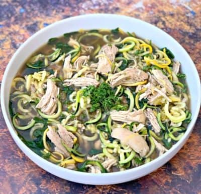 Low-Carb Instant Pot Chicken Noodle (Zoodle) Soup