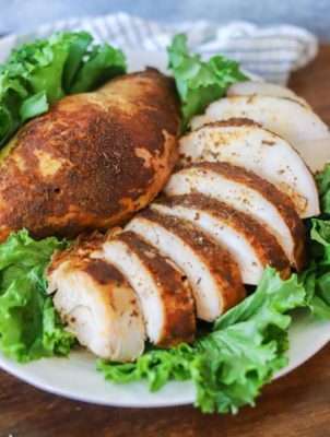Sliced turkey breast on a plate with greens