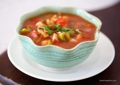 A blue bowl filled with Mexican Chicken Soup - whole30 dinner recipe idea