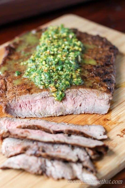 Indian flank steak with cilantro pesto