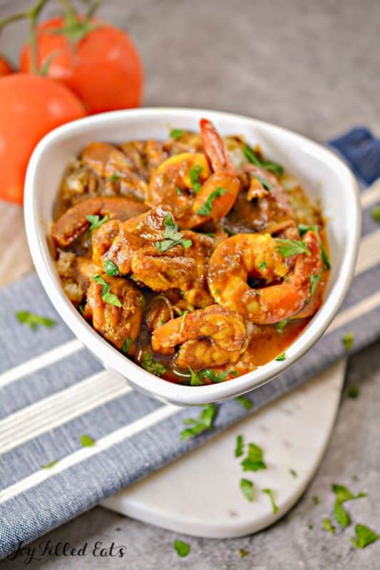Shrimp curry in a bowl