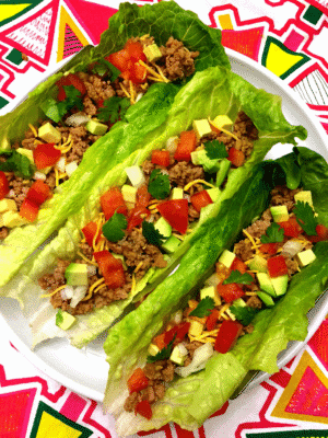 Turkey Taco Lettuce Wraps in a white serving dish