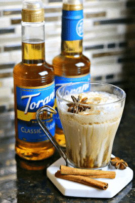 Keto Dirty Chai Latte with two Torani Sugar-free Syrups