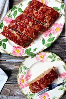 Keto Turkey Meatloaf on a plate