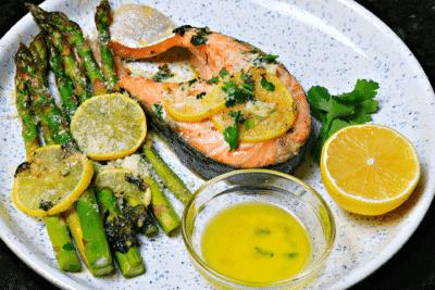 Salmon Steak Sheet Pan Dinner Recipe