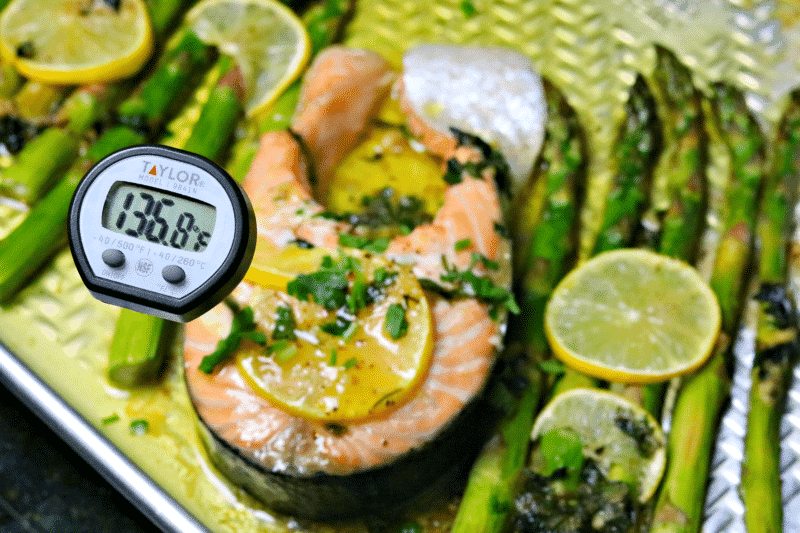 Salmon Steak with a Taylor Thermometer