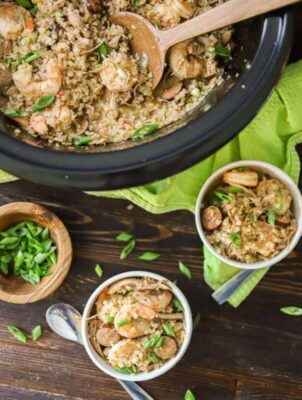 Low Carb Jambalaya served from crockpot into bowls.