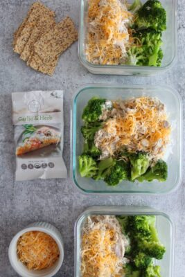 Slow Cooker Creamy Italian Chicken with broccoli in single portion containers.