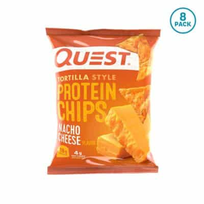 "1 bag of Quest Nacho Cheese Low Carb Tortilla Chips (""8 pack"" tag in a blue circle)"