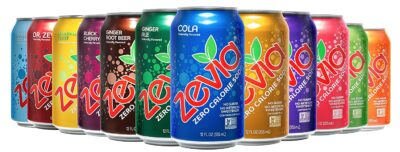 Several cans of Zevia Naturally Sweetened Soda Alternatives
