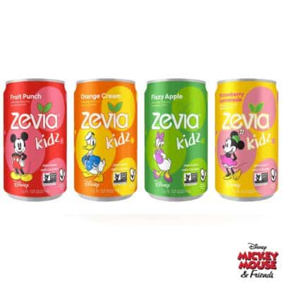 4 cans of Zevia Kidz naturally sweetened alternatives to soda for kids