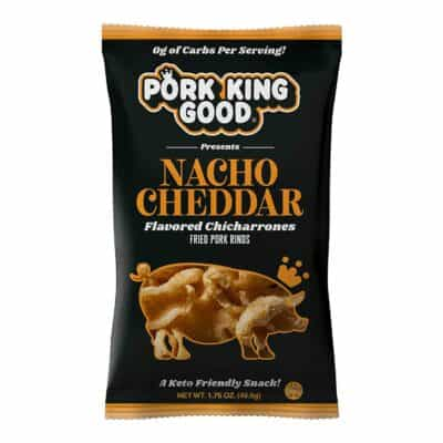 A bag of Pork King Good Nacho Cheddar Pork Rinds