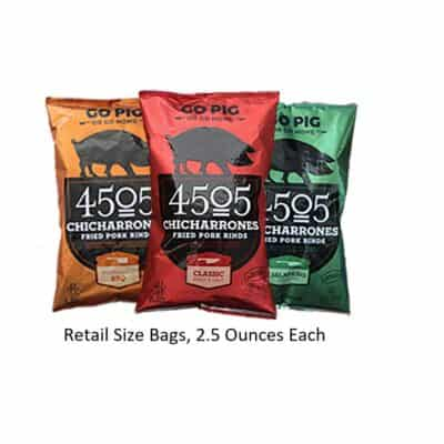 3 assorted bags of 4505 brand pork rinds