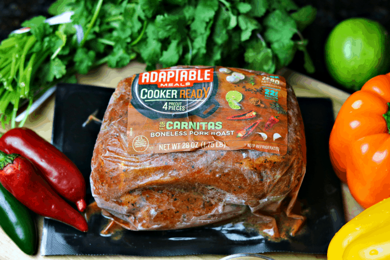 frozen adaptable meals carnitas roast on a cutting board