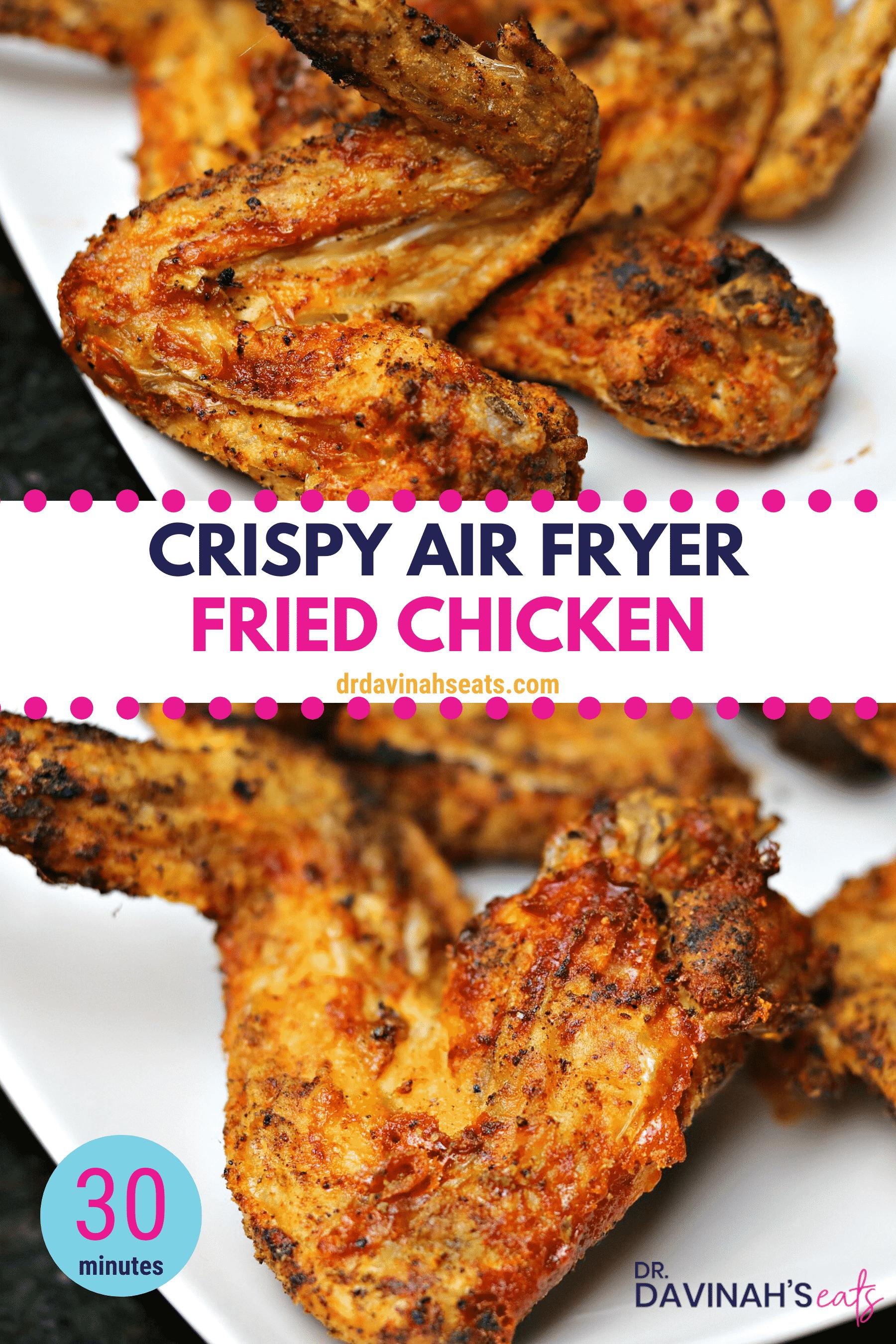 Pinterest image for crispy chicken wings
