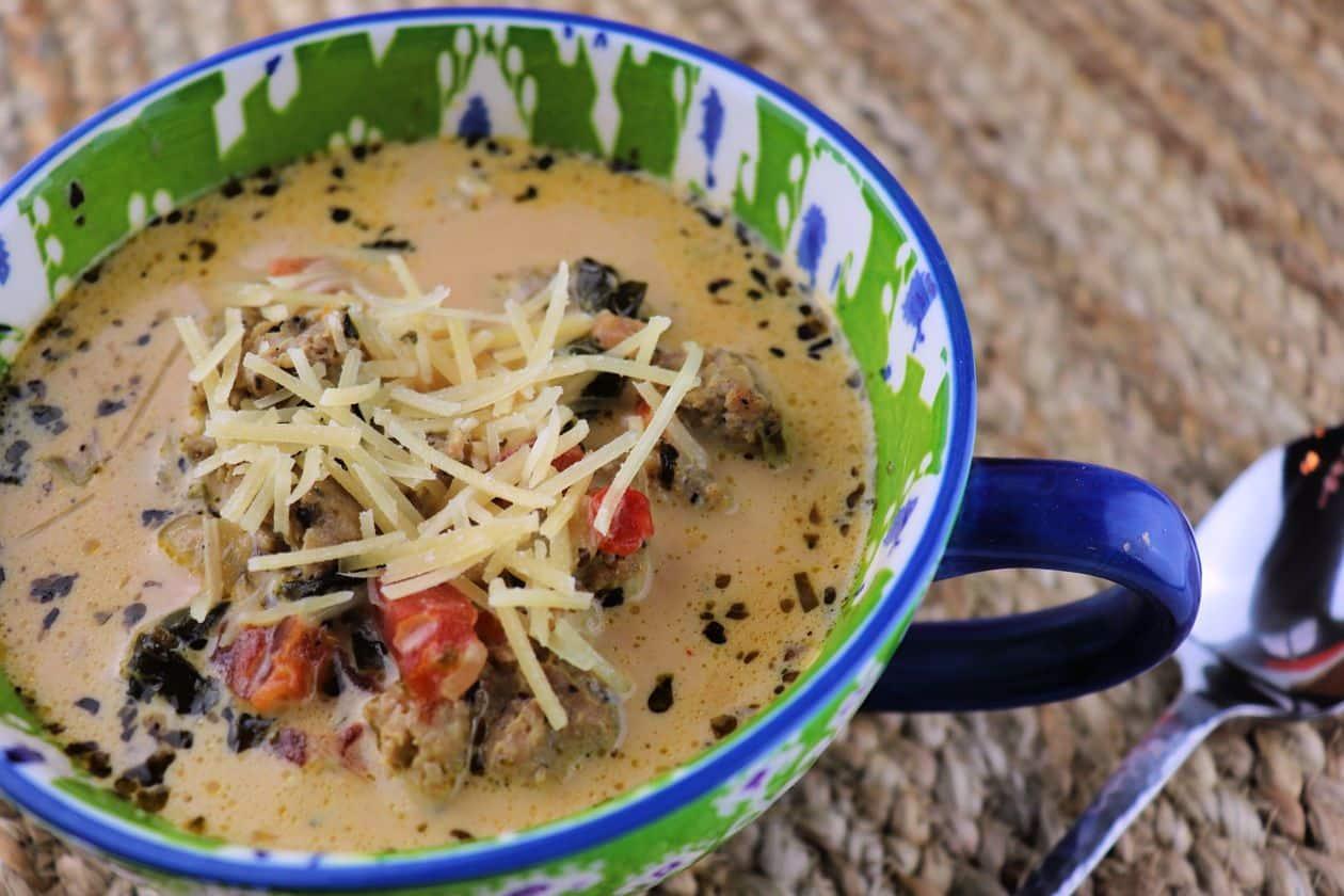 Creamy Keto Italian Sausage Soup in a bowl