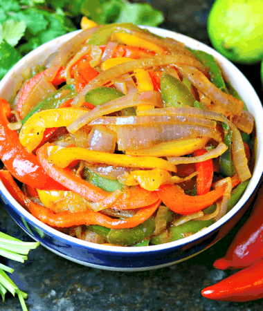 fajita vegetables in a bowl