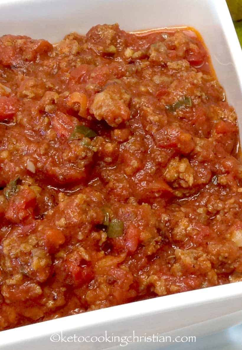 Homemade Italian Meat Sauce in a white serving dish