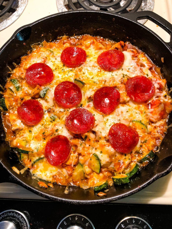 Keto Italian Pizza Zucchini Bake in a skillet
