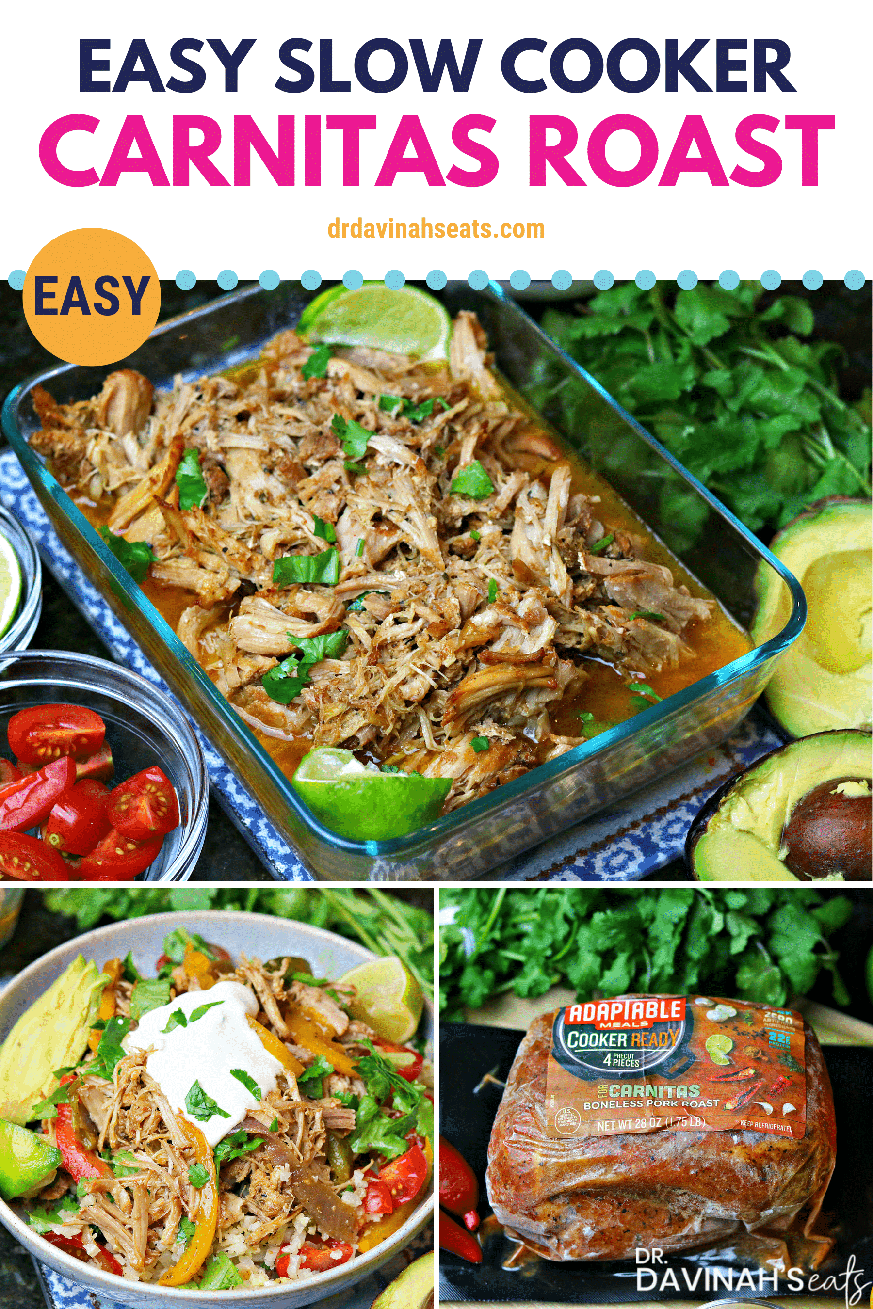 Pinterest image for Keto Carnitas Slow Cooker Roast