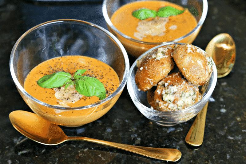 Creamy Keto Tomato Soup in glass bowls