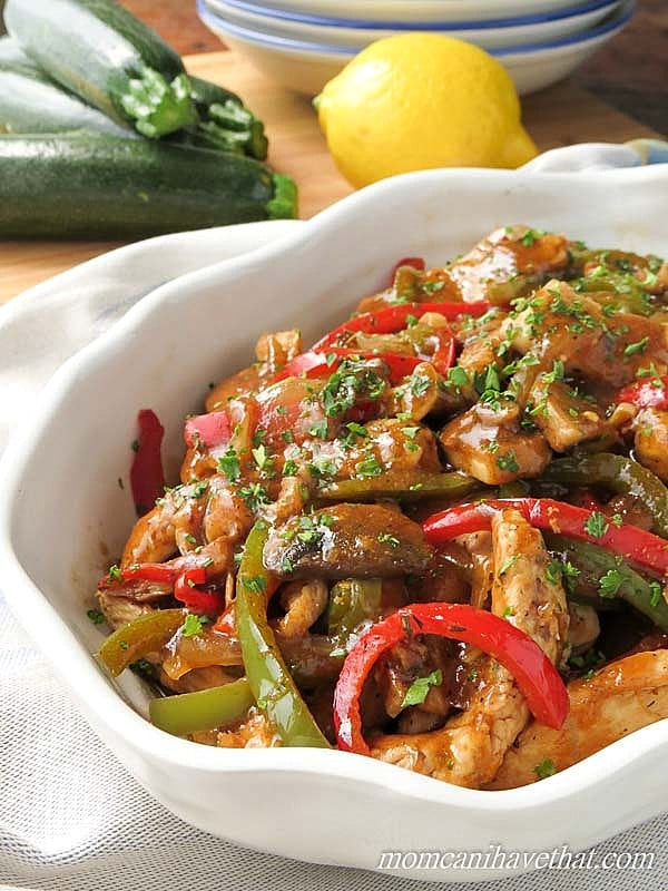 Low Carb Italian Chicken Cacciatore in a white serving dish
