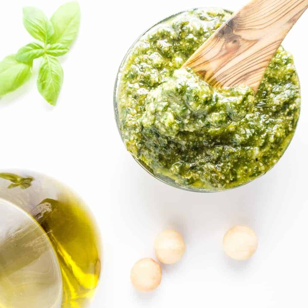 Easy Basil Pesto in a clear bowl