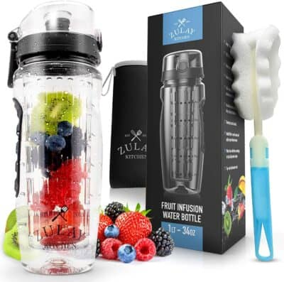 Zulay Water bottle (with juice infuser), box, bottle brush, and a pile of delicious looking berries.