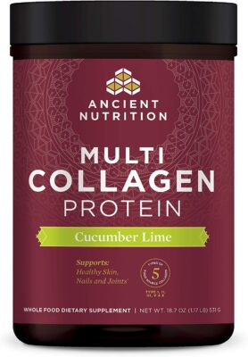 One package of cucumber lime flavored Ancient Nutrition brand Collagen Protein drink additive