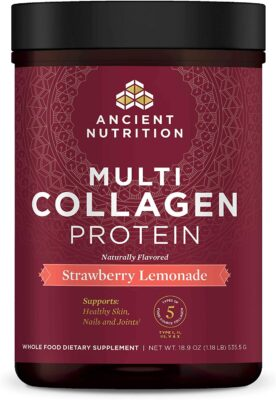 One package of Ancient Nutrition Collagen Protein drink additive - Strawberry Lemonade flavor