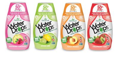 Four assorted flavors of Sweetleaf Water Drops hydration supplement